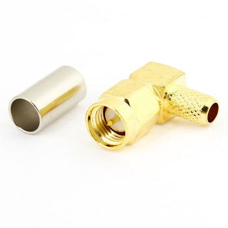 Sma Crimp (Unique Bargains SMA-JW-3 SMA Male Jack Right Angle Crimp RF Coax Connector Gold)
