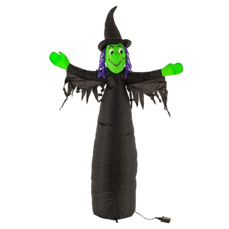 5 Foot Inflatable Scary Black and Green Witch with LED Lights Indoor Outdoor Yard Lawn Prop Decoration - Wicked Blow Up Haunted House Party Display