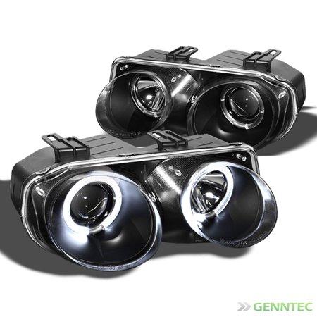 1998-2001 Acura Integra Twin Halo Projector Black Headlights Head Lights Pair Left+Right 1999 2000 (Acura Integra Halo Headlights)