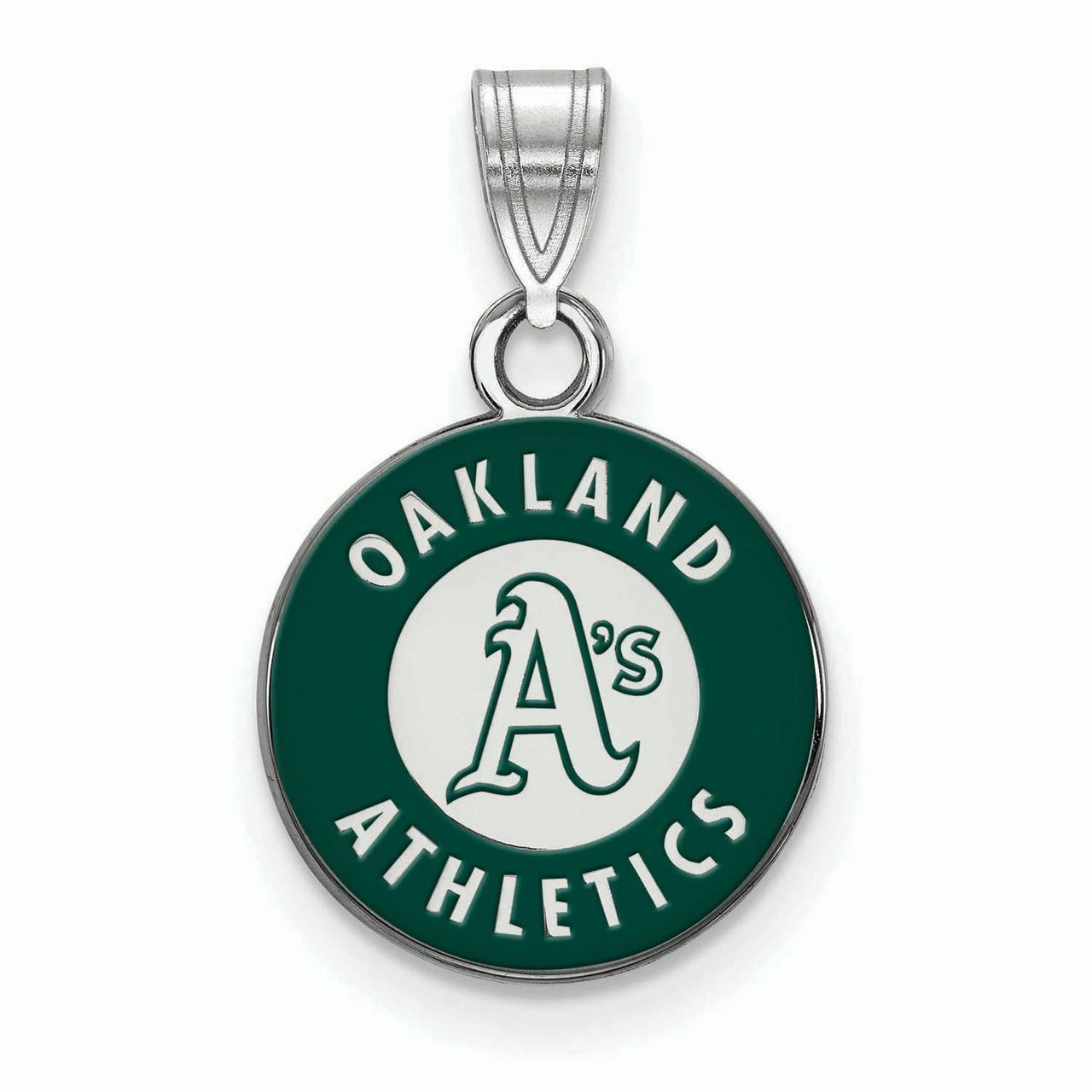 Oakland Athletics Women's Silver Enamel Pendant - No Size
