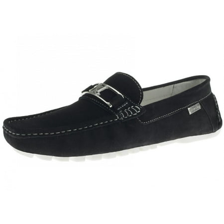 LN LUCIANO NATAZZI Mens Air Grant Penny Suede Leather Shoes Original Slip-On Driving Loafer Black