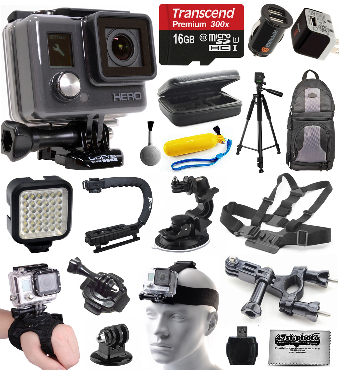 GoPro HD HERO Waterproof Action Camera Camcorder (CHDHA-301) with 16GB Everything You Need Accessories Bundle includes MicroSD Card + Charger + Tripod + Backpack + Case + LED Light + Stabilizer Grip