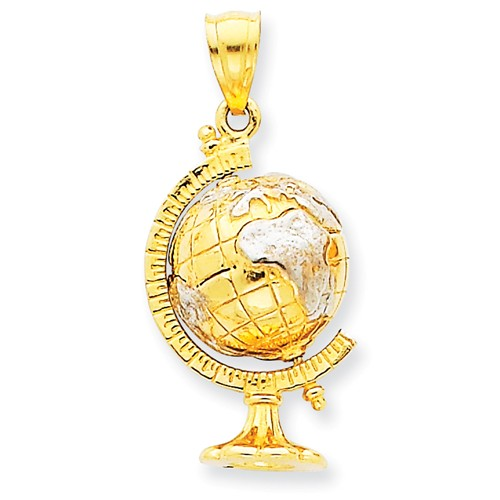 14K Yellow Gold and Rhodium 3-D Moveable Globe Pendant