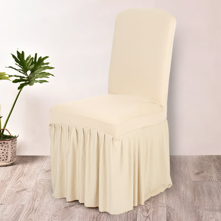 Pleated Solid Color Ruffled Stretchable Removable Washable Home Dining Chair Cover Spandex Seats Slipcover for Wedding Party Hotel Dining - Ruffled Chair Covers
