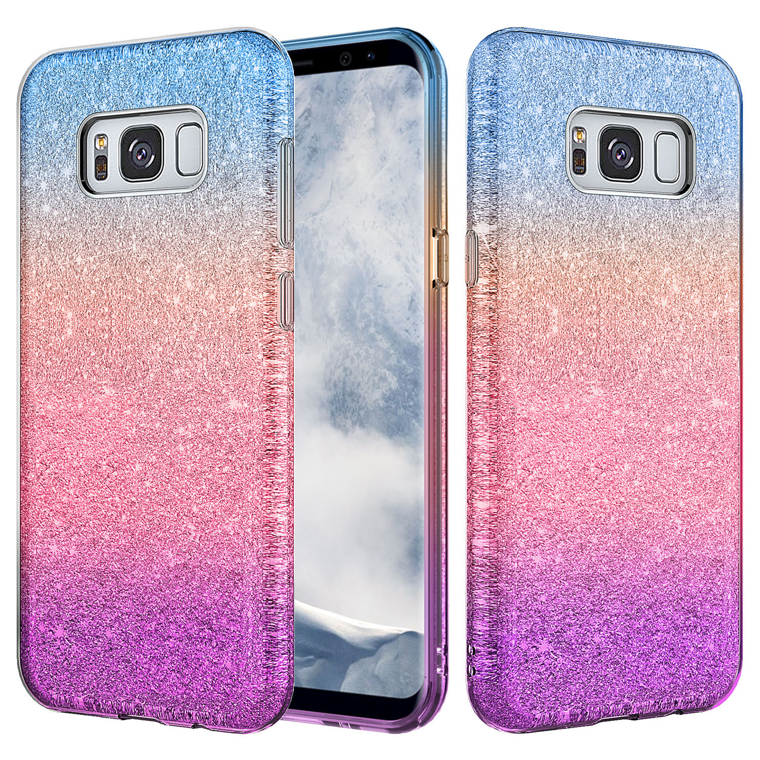 Samsung Galaxy S8 Plus Case, Slim Glitter Shine Hybrid TPU Case with reinforced Polycarbonate backing for Galaxy S8 Plus, SM-G955 - Blue