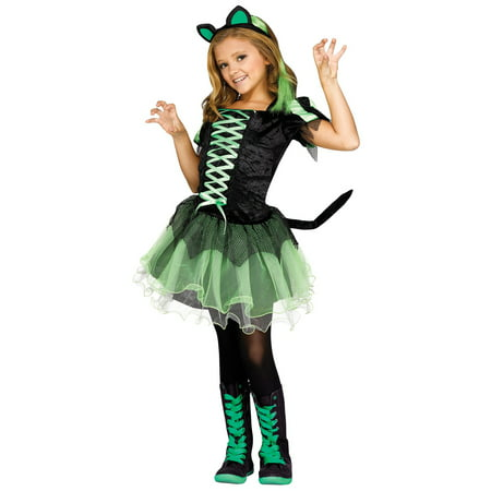 Cat Queen Girls Child Dark Gothic Princess Halloween Costume-L