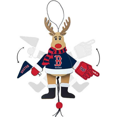Topperscot by Boelter Brands MLB Wooden Cheering Reindeer Ornament, Boston Red Sox