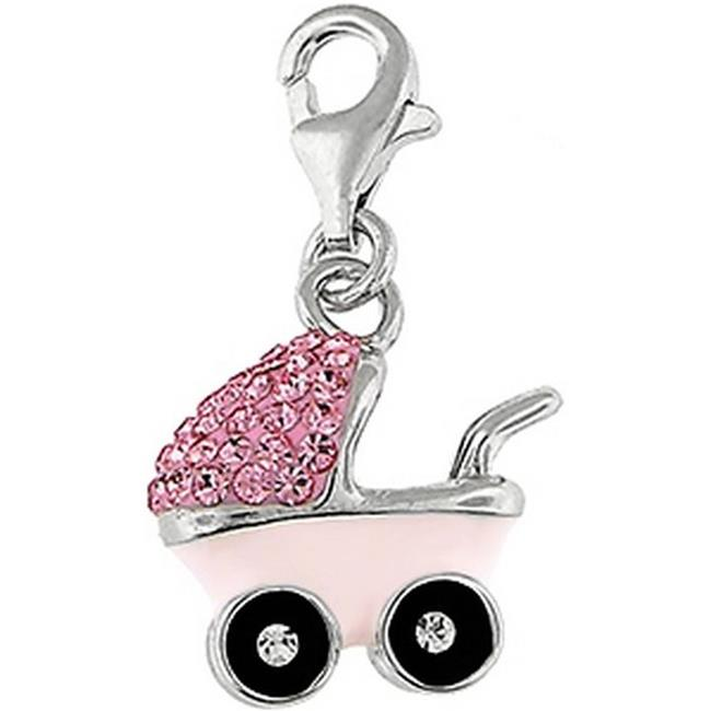 Doma Jewellery SSPE176PPink Sterling Silver And Crystal Charm, Baby Carriage - Pink