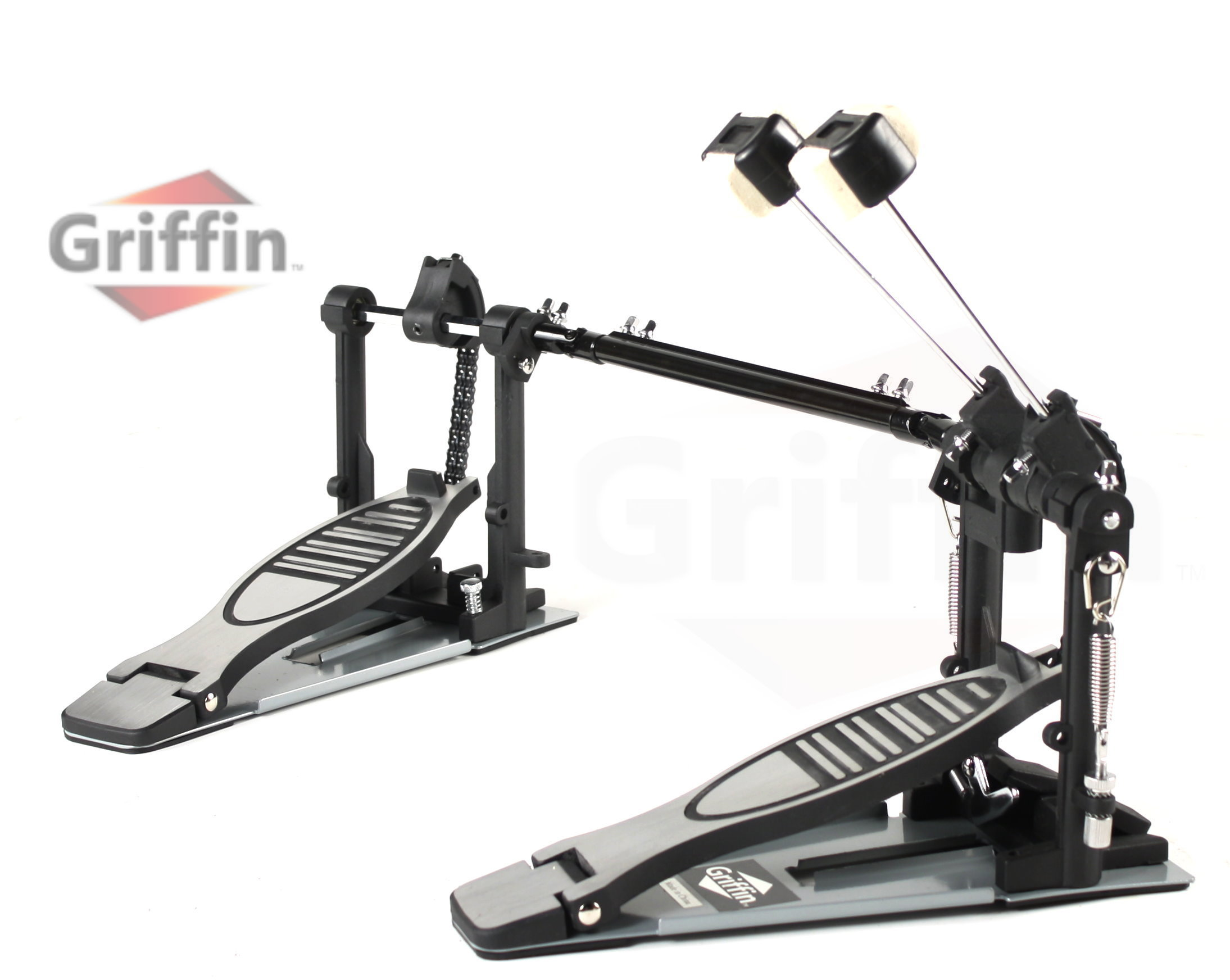 Deluxe Double Kick Drum Pedal for Bass Drum by Griffin | Twin Set Foot Pedal|Quad Sided... by Griffin