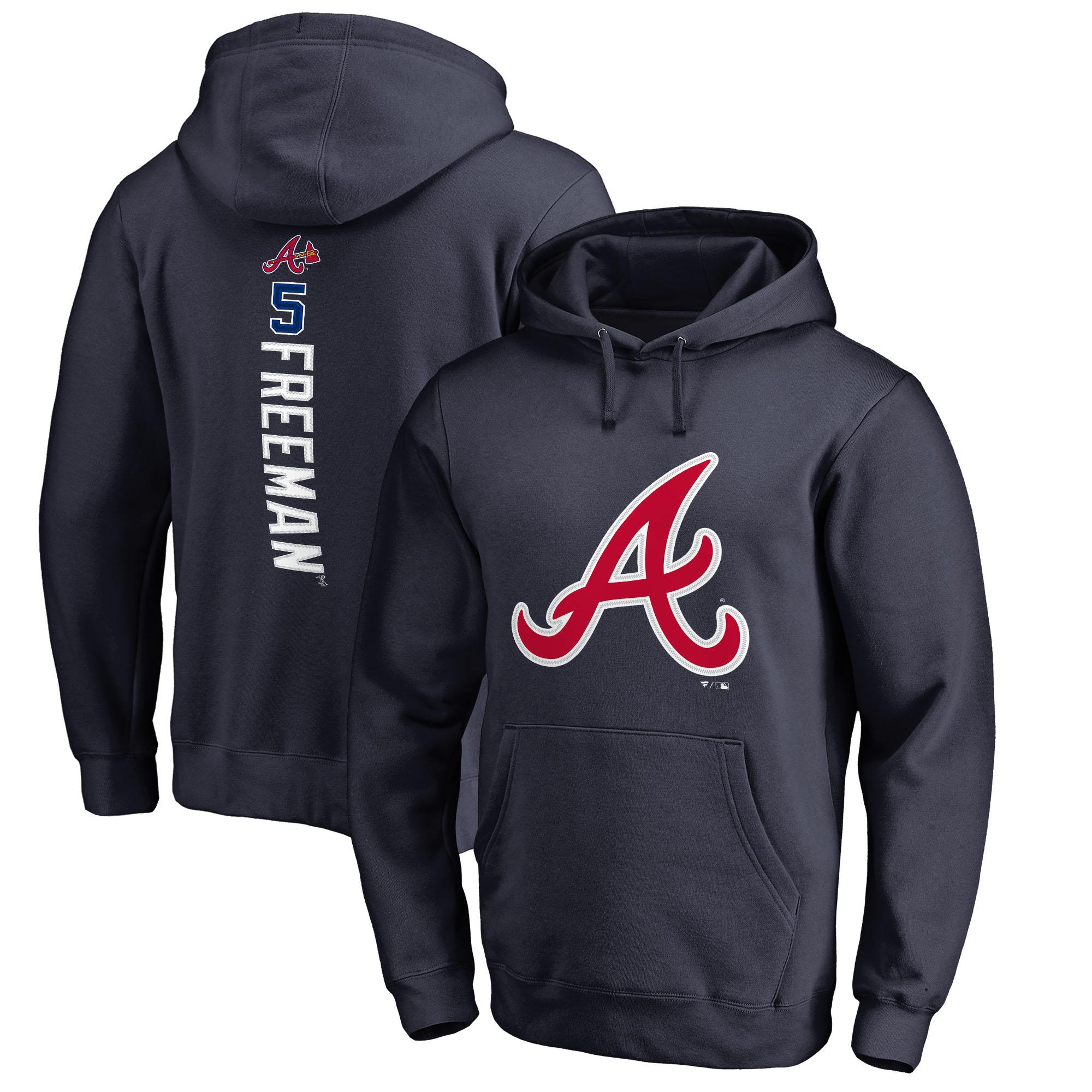 Freddie Freeman Atlanta Braves Fanatics Branded Backer Pullover Hoodie - Navy