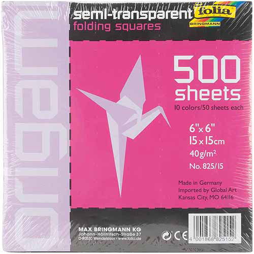 "Global Art Folia Origami Paper, 6"" x 6"", Transparent, 500/pkg, Assorted"