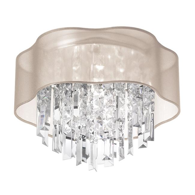 Radionic Hi Tech FM-ILL-133FH-PC-814-RHT Illusion 3 Light Crystal Flush Mount Fixture With Polished Chrome