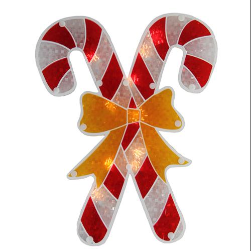 "12"" Lighted Double-Sided Holographic Candy Cane Christmas Window Silhouette"