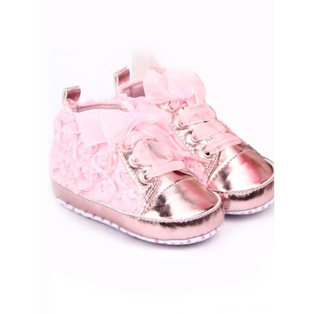 Baby Girls Shoes Soft Crib Sole Infant Prewalker Anti-slip Lace Sneaker