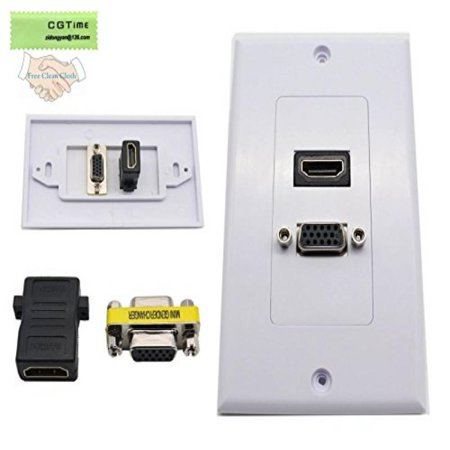 Cgtime New Design Nickel Plated Hdmi Vga Component Composite Audio Video Wall Face Plate Panel White