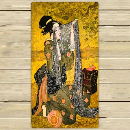 PHFZK Asian Towel, Japanese Woman Hand Towel Bath Bathroom Shower Towels Beach Towel 30x56 - Japanese Hand Towels
