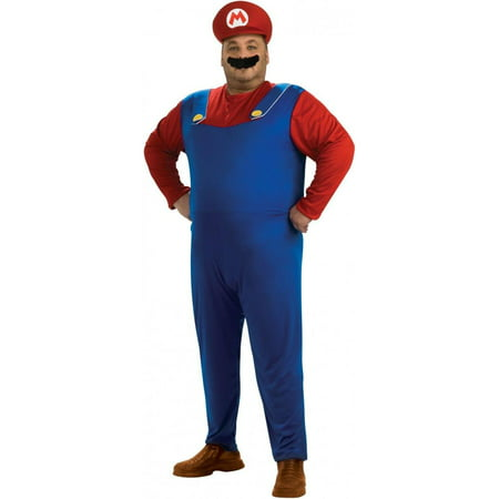 Super Mario Bros. Mario Adult Plus Halloween Costume - Halloween Supper