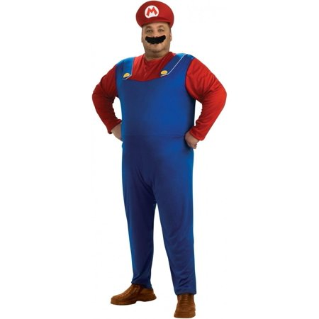 Super Mario Bros. Mario Adult Plus Halloween Costume (Mario Bros Character Costumes)