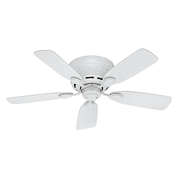 """Hunter 42"""" Low Profile White Ceiling Fan with Pull Chain"""