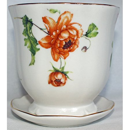 Nantucket Home Herb Garden Ceramic Planter with Saucer (Multiple Flowers)