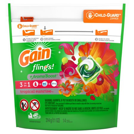 Gain flings! Laundry Detergent Pacs, Tropical Sunrise, 14 count