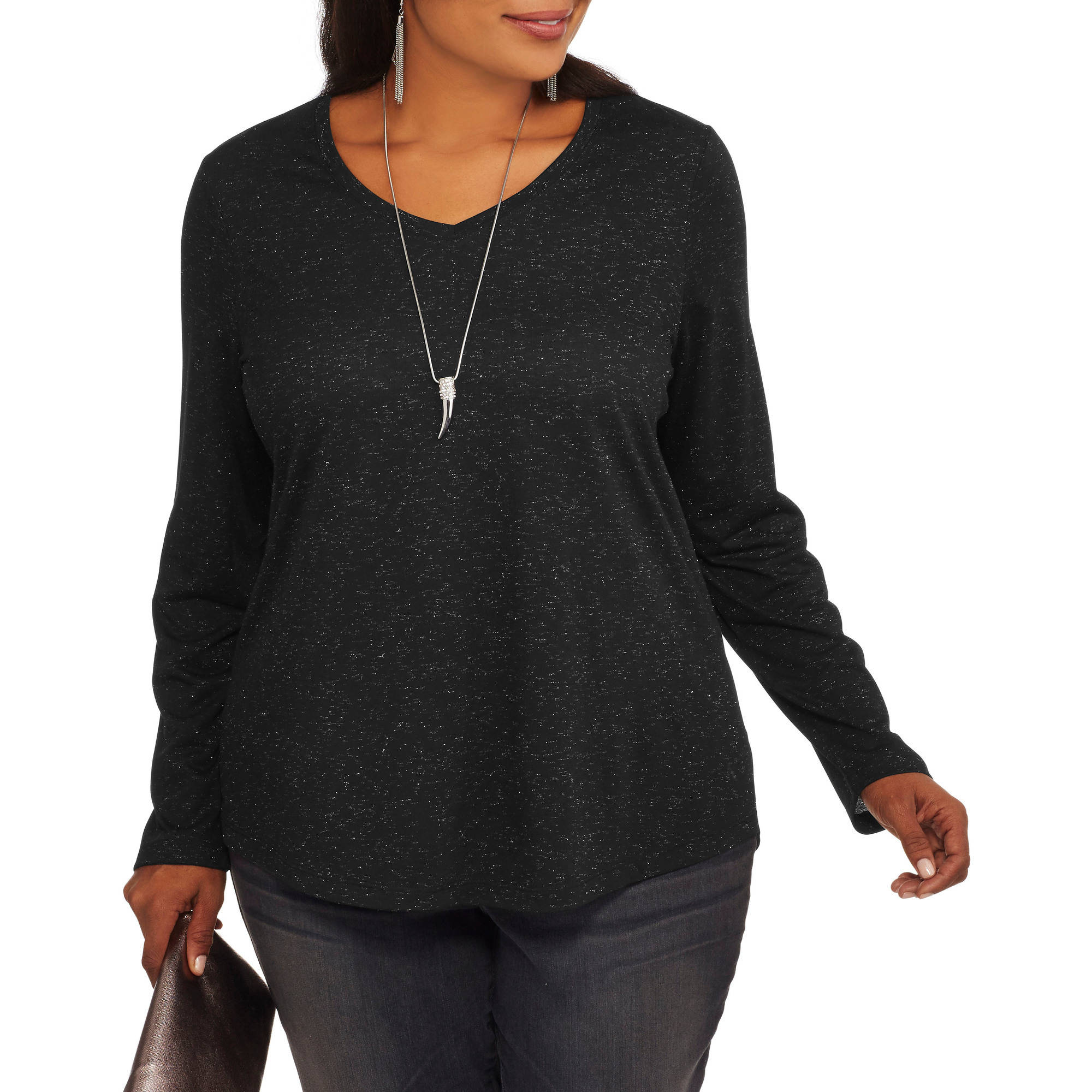 Faded Glory Women's Plus Long Sleeve Elevated Tee