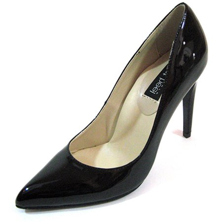 "Highest Heel Womens 4"" Plain Pump Black Patent PU Shoes"