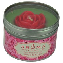Hugs & Kisses Aromatherapy One 6.5 Inch Tin Soy Aromatherapy Candle With Pink Rose. Combines The Essential Oils Of Fresh