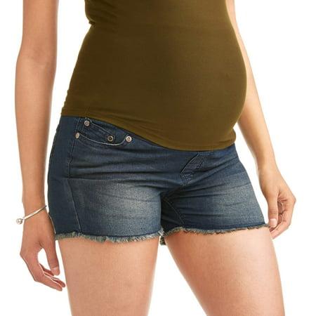 Frayed Hem Short (Maternity Frayed Hem Overbelly Denim Shorts - Available in Plus)
