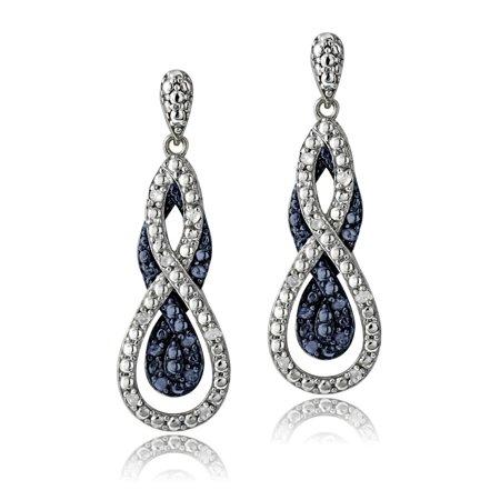 Blue Diamond Dangle Earrings - 1/4 Ct Blue & White Diamond Intertwining Infinity Dangle Earrings