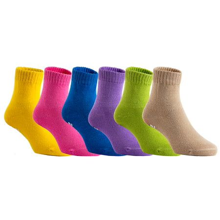 Lovely Annie Unisex Children 6 Pairs Pack Non Slip Pure Cotton Socks 3Y-5Y Multi Color(2Green/No Beige) (Six Pack Annie)