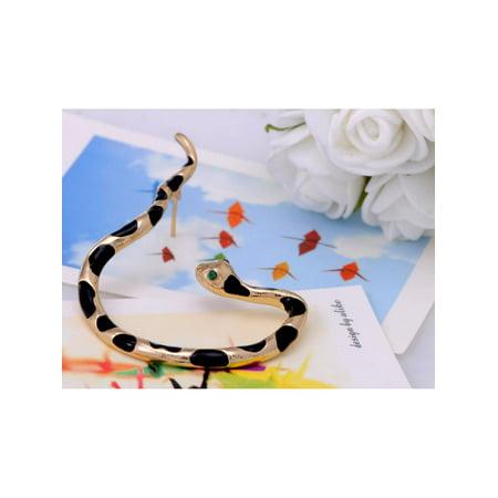 Cute Enamel Painted Spotted Rhinestone Eyes Slithering Snake Earring Ear Cuff