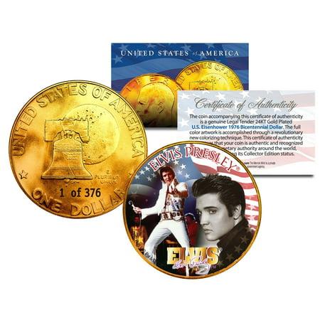 1976 ELVIS PRESLEY 24K Gold Plated IKE Dollar *Each Coin Serial Numbered of 376* 1976 Eisenhower Dollar Type