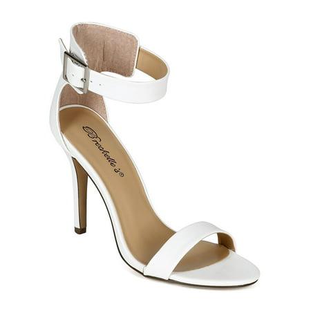 6ad134340c77 Breckelles - Women Leatherette Open Toe Single Band Ankle Strap ...