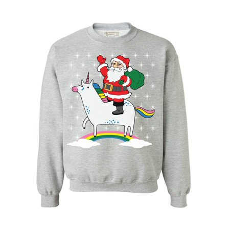 Awkward Styles Unicorn Santa Sweatshirt Cute Unicorn Santa Ugly Christmas Sweater for Women Xmas Unicorn Sweatshirt Funny Christmas Sweaters Christmas Rainbow Gifts for Unicorn Lovers Santa Sweater (Funny Ugly Sweaters)