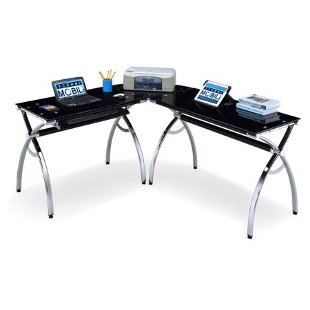 Techni Mobili L-Shaped Glass Computer Desk - Black/Chrome ...