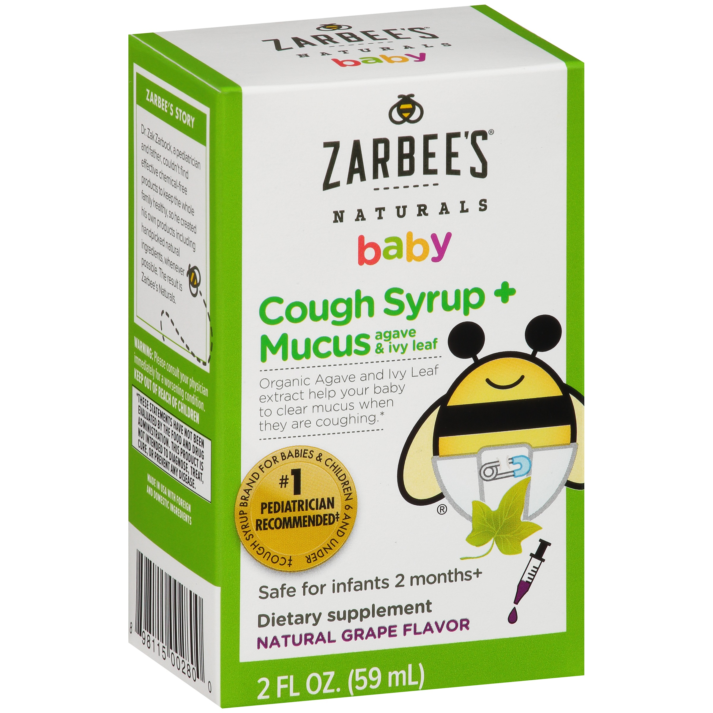 Zarbee's Naturals Baby Cough Syrup + Mucus Dietary Supplement Natural Grape Flavor, 2.0 FL OZ