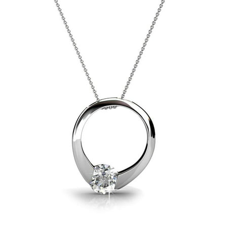 Cate & Chloe Dahlia 18k White Gold Plated Pendant Necklace with Swarovski Crystals, Silver Round Cut Solitaire Diamond Ring Necklace for Women, MSRP $165 Swarovski Crystal Gold Plated Pendant