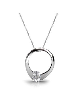 806222280ea09 Product Image Cate   Chloe Dahlia 18k White Gold Plated Pendant Necklace  with Swarovski Crystals, Silver Round