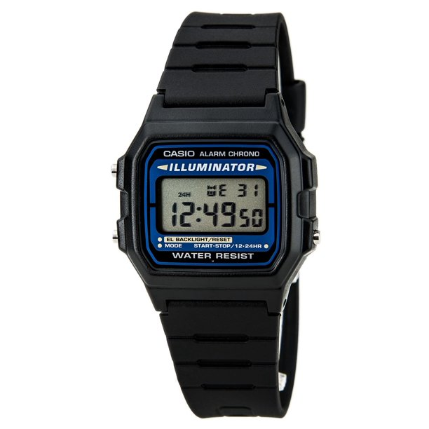 F105W-1A Men's Black Casual Classic Alarm Chrono Illuminator Digital Watch