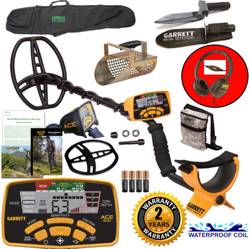 Garrett ACE 400 Metal Detector with DD Waterproof Coil, Pouch, Travel Bag, Metal Scoop, Edge Digger,