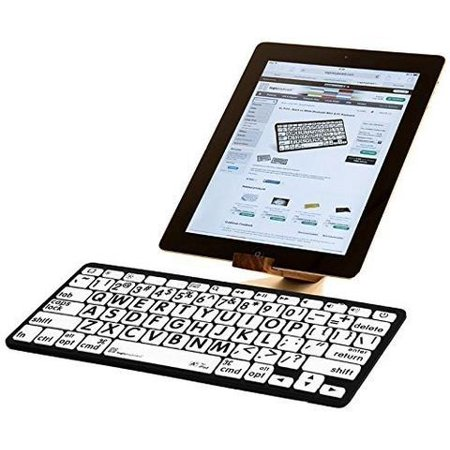 LogicKeyboard Large Print Black on White Bluetooth Mini Keyboard For Apple iPad and iPhone - Tablet not Included- (Xxx Large Model)