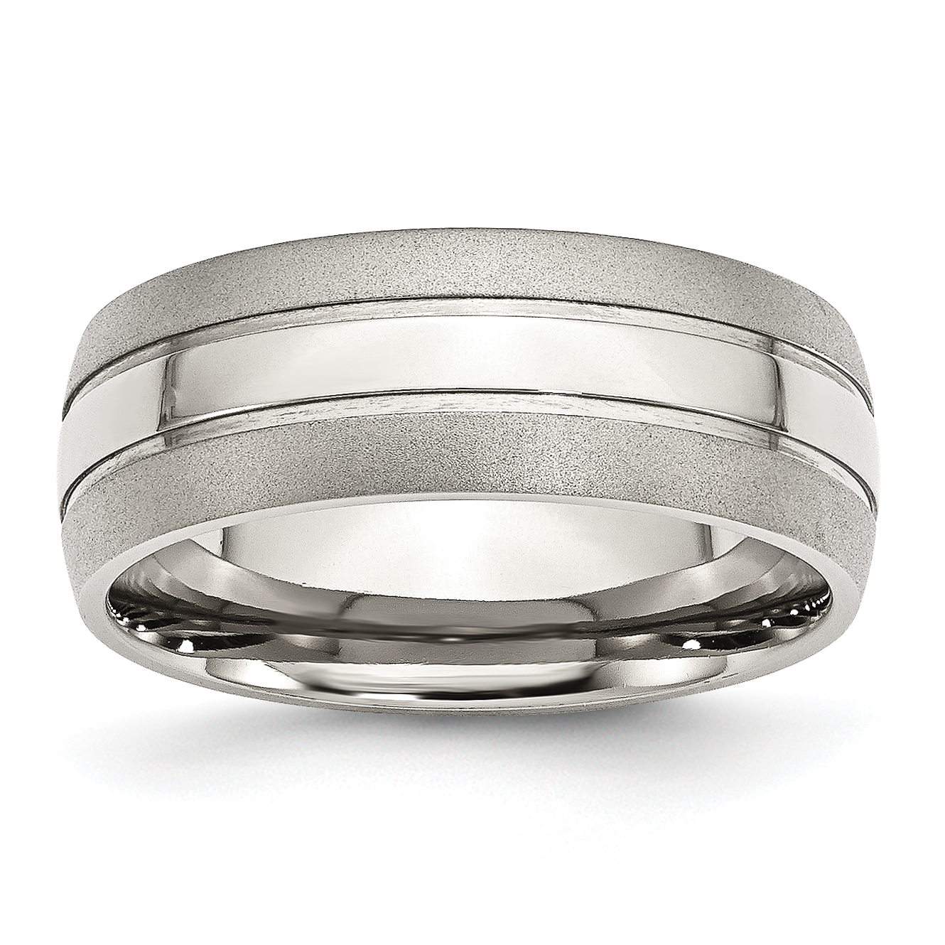 Stainless Steel Grooved 8mm Brushed and Polished Band Size 13.5 - image 3 of 3