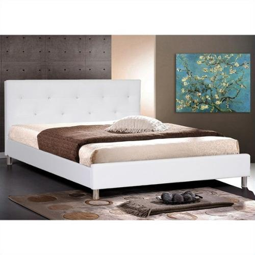 Baxton Studio Barbara Leather Tufted Queen Platform Bed in White