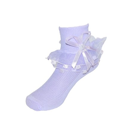 Girls' Lace Ruffle Anklet Sock with Pearl Accent