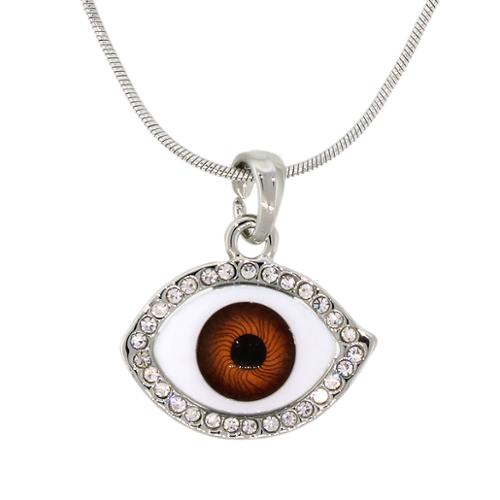 "Evil Eye with White Crystals Pendant Necklace and 16"" Snake Chain"