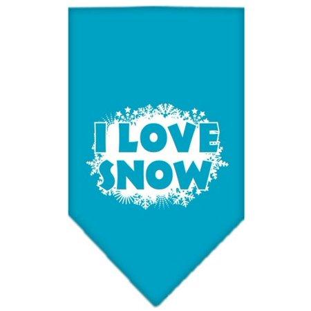 I Love Snow Screen Print Bandana Turquoise Large