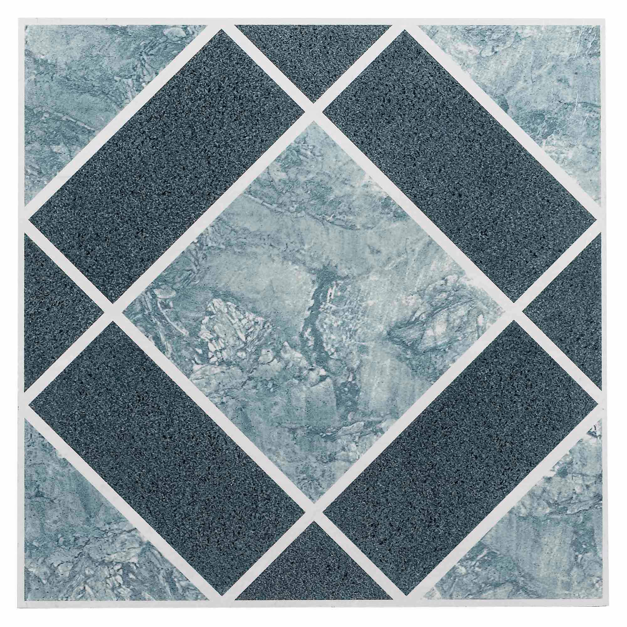 NEXUS Light & Dark Blue Diamond Pattern 12x12 Self Adhesive Vinyl Floor Tile - 20 Tiles/20 Sq.Ft.