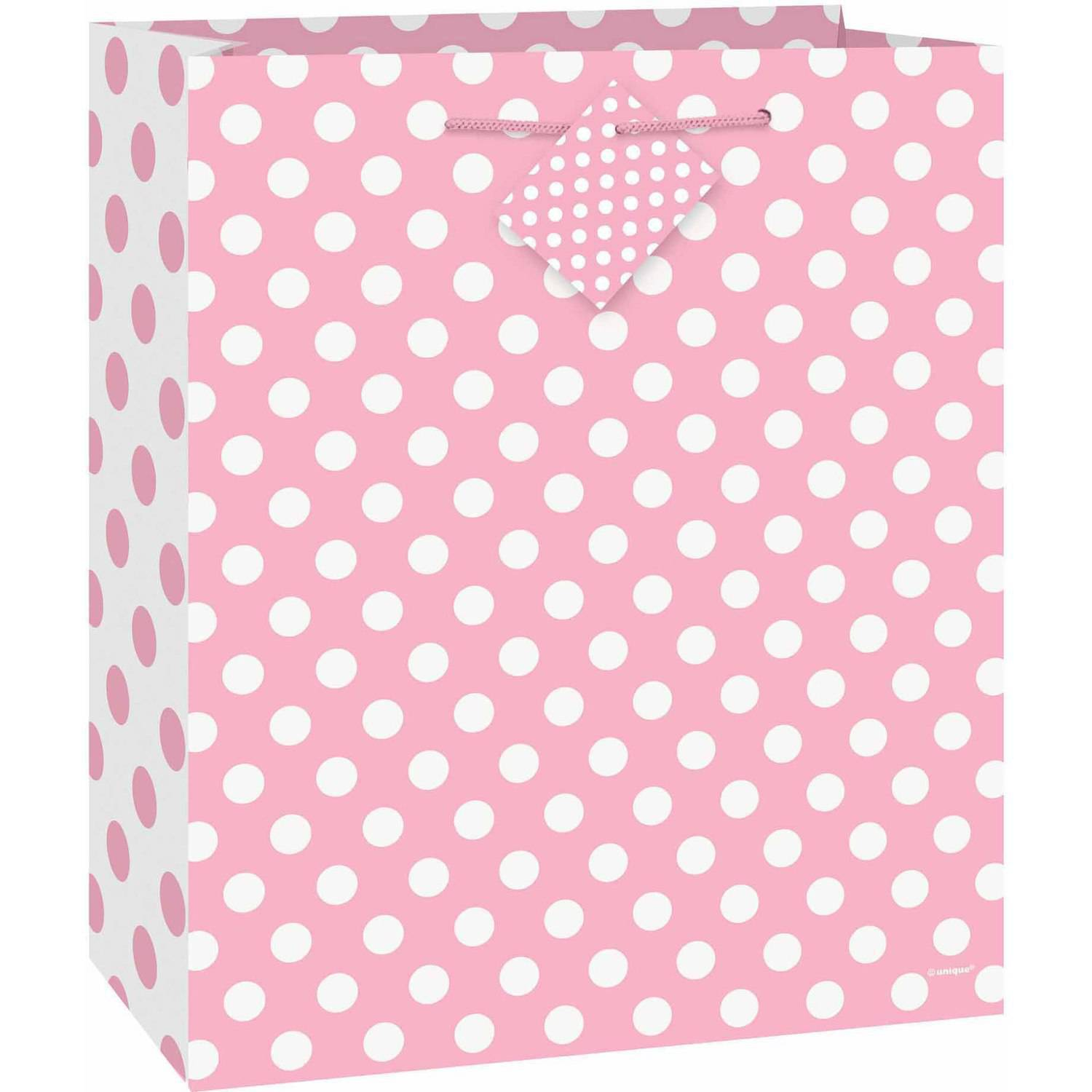Large Light Pink Polka Dots Gift Bag