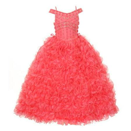 Rain Kids Little Girls Coral Beads Straps Ruffle Organza Pageant Dress 6